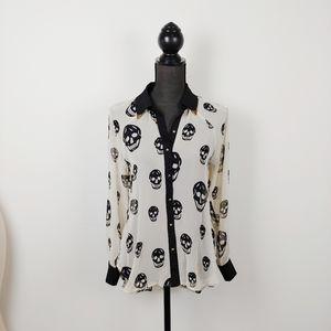 PINK OWL skull blouse